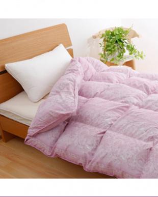ピンク  ロシア産シルバーグースダウン90%・1.3kg 羽毛布団 シングルロング見る