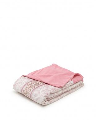ピンク  ジュラナス柄 あたたか掛けふとんカバー シングルロング見る
