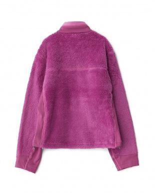 ピンク シャギーフリースジャケット見る