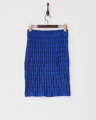 ブルー  ラインチェックニットスカート見る