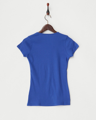 ブルー 定番V開き前2重半袖Tシャツ見る