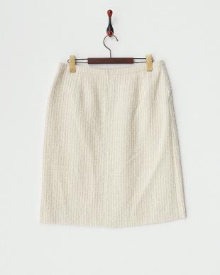 ベージュ  ラメ入りツイードタイトスカート見る
