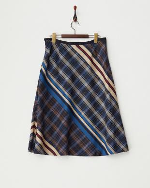 ブルー  パネルチェックジャカードスカート見る