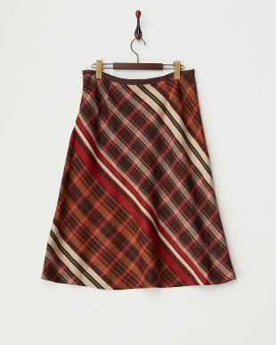 レッド  パネルチェックジャカードスカート見る