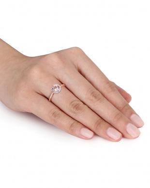 ダイヤモンド+モルガナイト リング見る