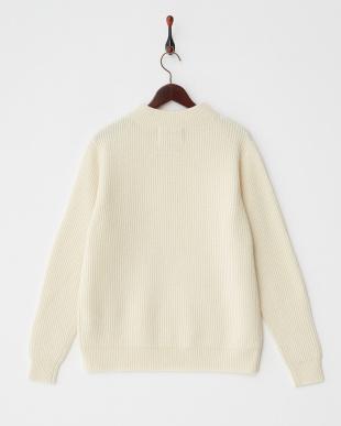 white  ウォッシャブルウール リブ編みハイネックセーター見る