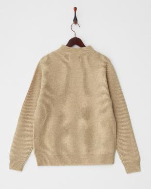 beige  ウォッシャブルウール リブ編みハイネックセーター見る