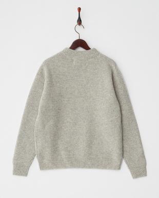 gray  ウォッシャブルウール リブ編みハイネックセーター見る