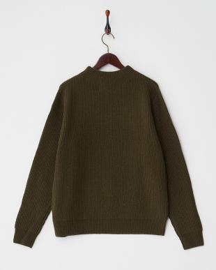 khaki  ウォッシャブルウール リブ編みハイネックセーター見る