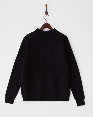 black  ウォッシャブルウール リブ編みハイネックセーター見る