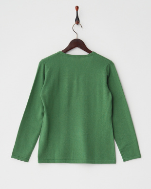 グリーン  Vネックライン花柄セーター見る