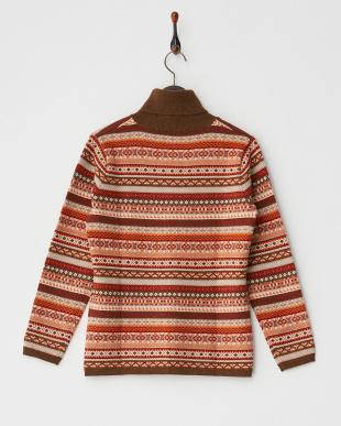 オレンジ  フェアアイル柄タートルネックセーター見る