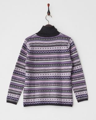 パープル  フェアアイル柄タートルネックセーター見る