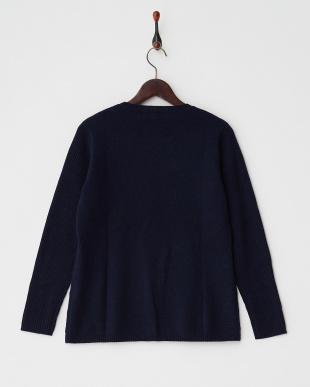 ネイビー  編み柄切り替えクルーネックセーター見る