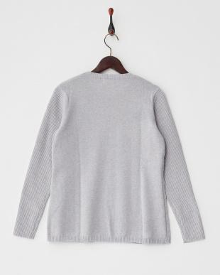 Sグレー  編み柄切り替えクルーネックセーター見る