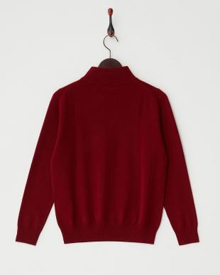 ワイン  リブ切り替えハイネックセーター見る