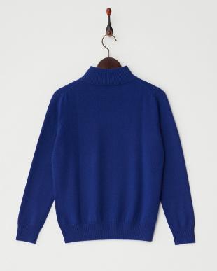 ブルー  リブ切り替えハイネックセーター見る