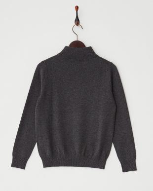 グレー  リブ切り替えハイネックセーター見る