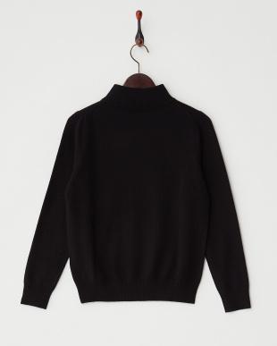 ブラック  リブ切り替えハイネックセーター見る