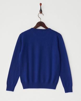 ブルー  リブ切り替えクルーネックセーター見る