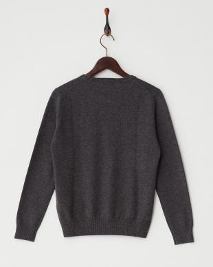 グレー  リブ切り替えクルーネックセーター見る