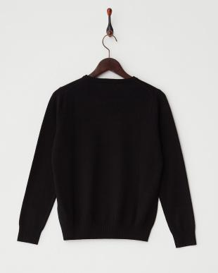 ブラック  リブ切り替えクルーネックセーター見る