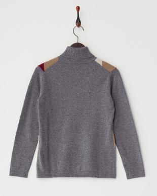 グレー  配色切り替えタートルネックセーター見る