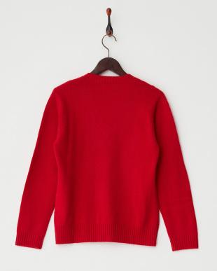 レッド 編み柄切り替えVネックセーター見る