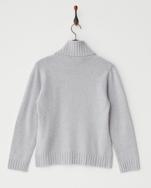 Sグレー  編地切り替えリブタートルネックセーター見る