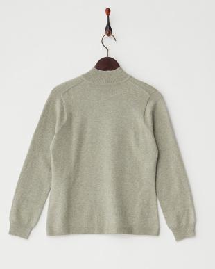 オリーブ  無地ハイネックセーター見る