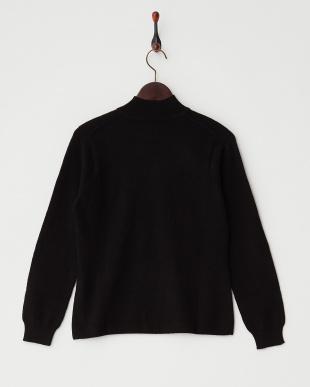 ブラック  無地ハイネックセーター見る