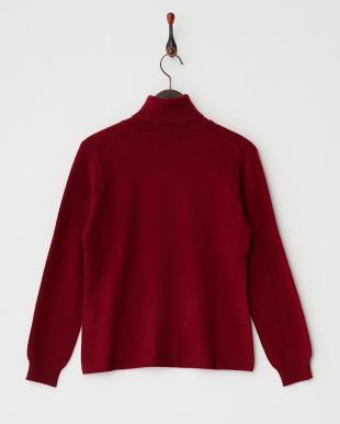 ワイン  無地タートルネックセーター見る