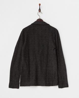ブラック  ジャガード織り 2つボタンジャケット見る