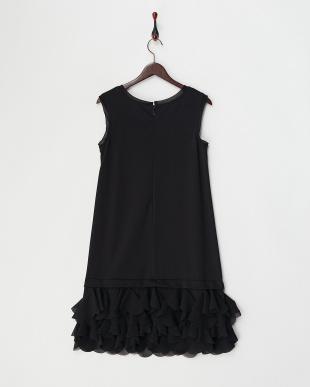 黒  裾シフォンフリル切り替えワンピース見る