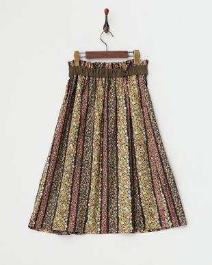 カーキ  フラワープリント切り替えスカート見る