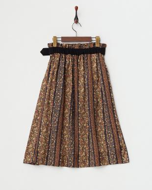 ブラック  フラワープリント切り替えスカート見る