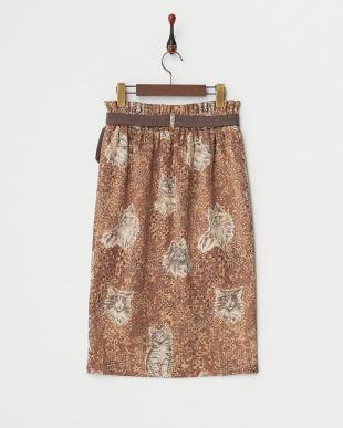 ブラウン系 ネコプリントタイトスカート見る