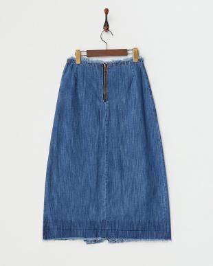 ブルー デニムロングスカート見る