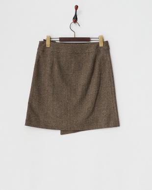 ブラウン  ネップツイードラップ風スリットスカート見る