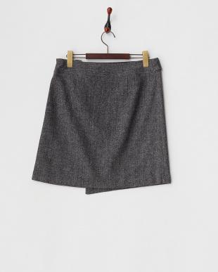 グレー  ネップツイードベルトデザインスカート見る