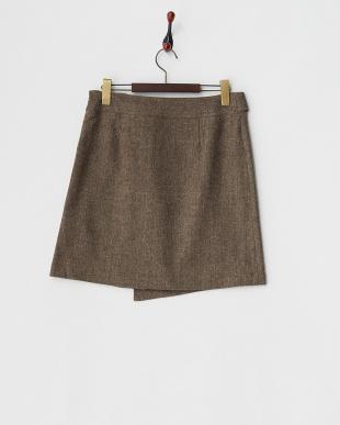 ブラウン  ネップツイードベルトデザインスカート見る