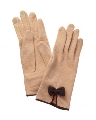 ベージュ  スマートフォン対応 リボン付きジャージ手袋見る