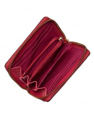 ピンク  リザード型押し L字型ラウンドファスナーミニ財布見る