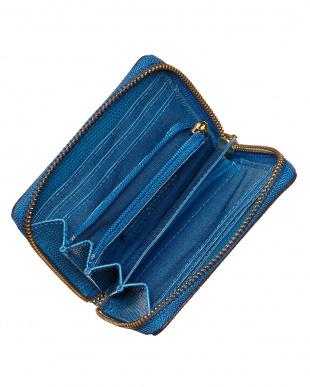 ブルー  リザード型押し L字型ラウンドファスナーミニ財布見る