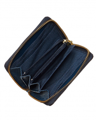 コン  リザード型押し L字型ラウンドファスナーミニ財布見る