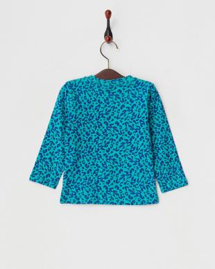 ブルー  カラーポケット付きレオパード長袖Tシャツ見る