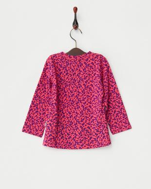 ピンク  カラーポケット付きレオパード長袖Tシャツ見る