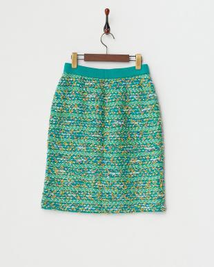 グリーン  BLOOMツイードスカート見る