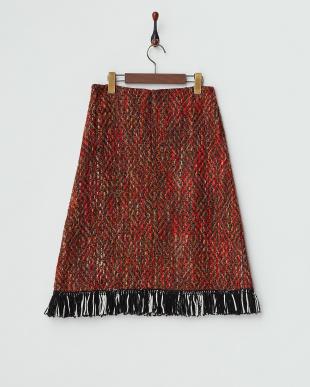 ブラウン 裾フリンジツイードスカート見る