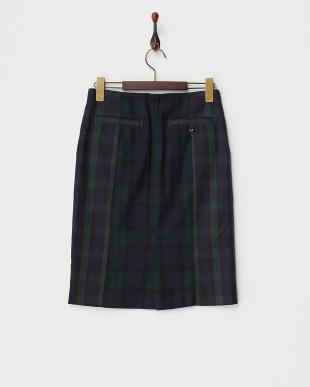 グリーン コンビチェックタイトスカート見る